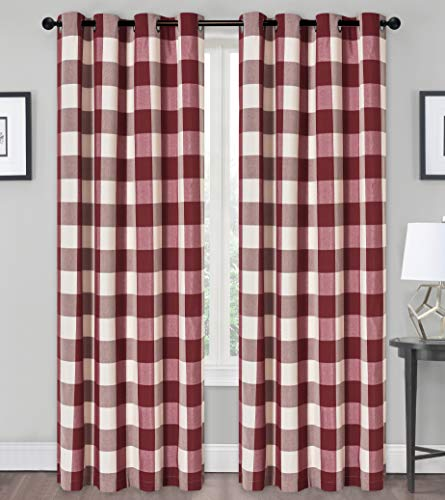 GoodGram Country Farmhouse Living Classic Buffalo Plaid Checkered Grommet Top Curtains - Assorted Colors & Sizes (Burgundy, 84 in. Long)