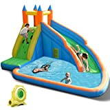 Costzon Inflatable Water Slide, Slide Bouncer Water Pool with Long Slide, Climbing Wall, Including Oxford Carry...