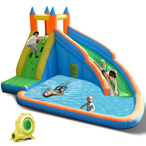 Why Should You Buy Costzon Inflatable Slide Bouncer, Water Pool with Long Slide, Climbing Wall, Incl...
