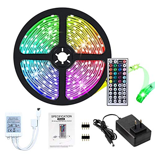 Lumières de bande menées,5M led ruban, 5050 lumières LED RVB, non étanche IP20 avec 20 couleurs 8 lumières, kit de bandes de lumières LED avec 44 touches Télécommande IR Alimentation 12V (16.4ft)
