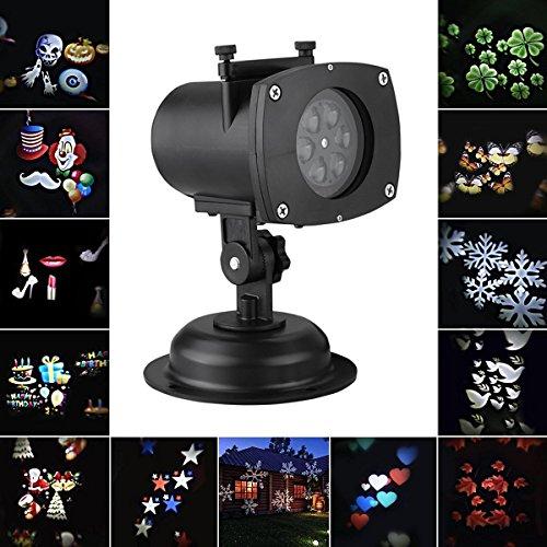 ECHI LED Paesaggio Proiettore di Illuminazione Luci Decorativo Natale Vacanza All'aperto Impermeabile Lampada All'aperto Lamp 12 modelli Zucca Fantasma Cuore Fiocco di Neve 12 Lenti Sostituibile.