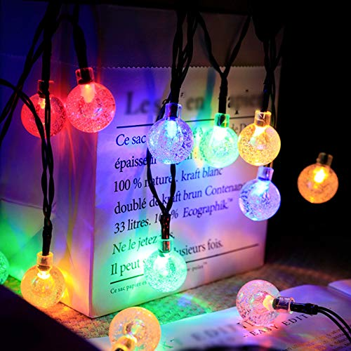 ABTSICA Solar String Lights, LED Christmas Wedding Party Fairy String Lights Outdoor Waterproof 8 Modes Hanging Lights String For Patio Garden Commercial,colour,12m100 lights