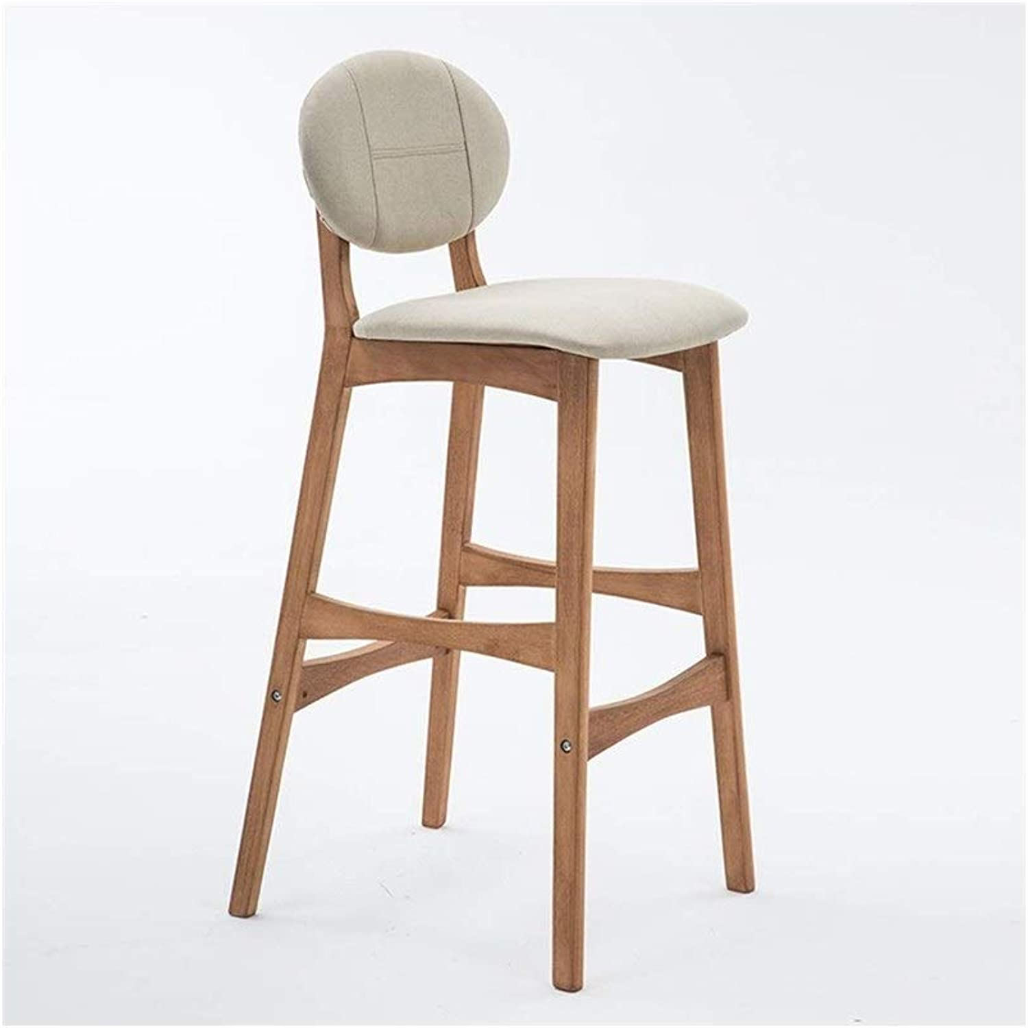 Bar Stool Beech Wood Linen Cotton Pad Bar Chair High Stool Modern Dining Chair Suitable for Bar Cafe Restaurant Front Desk FENPING (color   White, Size   64cm)