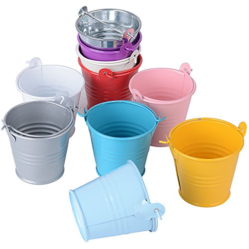 20pcs Mini Metal Bucket Sweets Pail Candy Favor Box Hanging Flower Pot Wedding Party Christmas Gift (10 Multi-Colors)