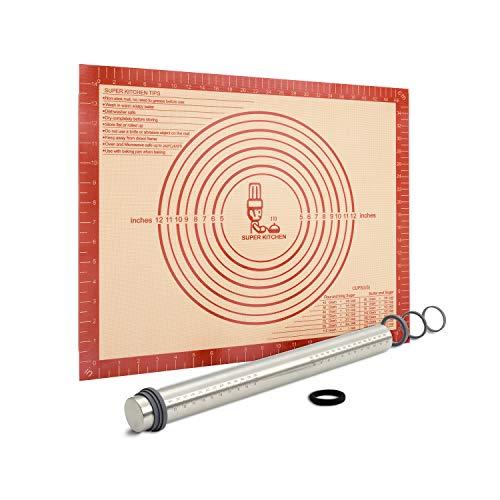 Nudelholz Edelstahl Teigroller mit Dicke-Verstellbares Ringe, Antihaft Teigrolle Rolling Pin, Backunterlage Silikon Backmatte 50x40cm Ausrollmatte Teigmatte Silikonmatte Teigunterlage für Fondant Rot