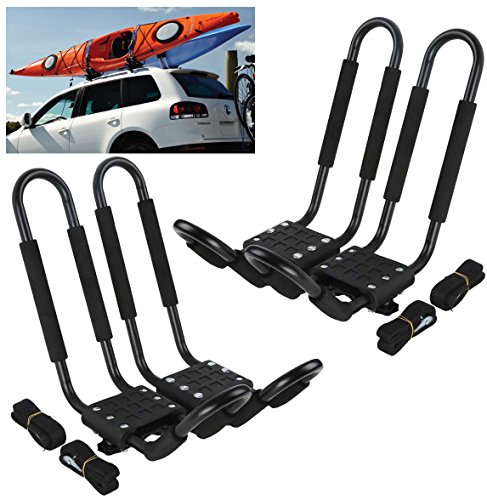 Car Rack & Carriers© Universal, J- shape, 2 Pairs, Canoe Boat, Kayak Carrier, Roof Mounted, SUV (Crossbar)