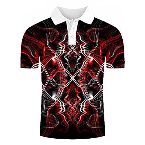 Polos Manga Corta Hombre - Divertidas Líneas Rojas Abstractas Impresas En 3D,Camisa De Playa,Ajuste A La Moda,Camisa De Manga Corta para Hombre,Verano,Informal,Ligera,con Botones,Polo De Golf para Ho