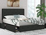 SHA CERLIN Upholstered Queen Size Platform Bed Frame with 4 Storage Drawers, Adjustable Headboard with Diamond Stitched Button Tufted Design, Wooden Slat Support, No Box Spring Needed, Dark Grey