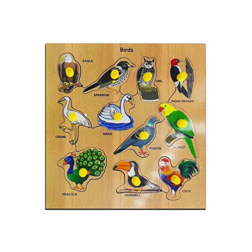 Kids Mandi Wooden Birds Educational Inset Puzzle Toy