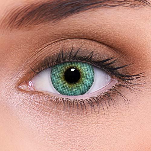 LENZOTICA Sehr stark natürlich deckende blaue Kontaktlinsen, SILICONE COMFORT farbig CRYSTAL BLUE + Behälter von LENZOTICA I 1 Paar (2 Stück) I DIA 14.00 I ohne Stärke I 0.00 Dioptrien
