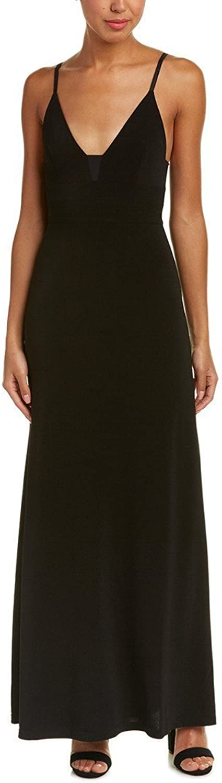 Alice & Olivia Devlin Maxi Dress with Sheer Inset, Black, Size 2