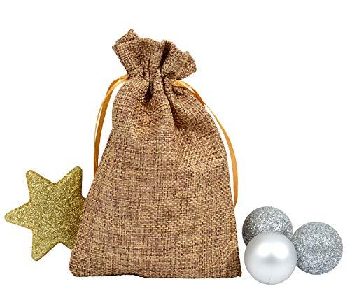 Alsino Adventskalender Beutel Bunt Geschenkbeutel Jutesäckchen Stoff Weihnachten Stoffbeutel Säckchen Stoffsäckchen mit Kordelzug (braun)