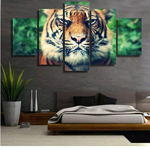 wuyyii Wandkunst Leinwand Malerei 5 Stücke Tiger Predator Maulkorb Augen SchielenWandbilder Für Wohnzimmer Wohnkultur Modulare Bilder-20X35Cmx2/20X45Cmx2/20X55Cmx935