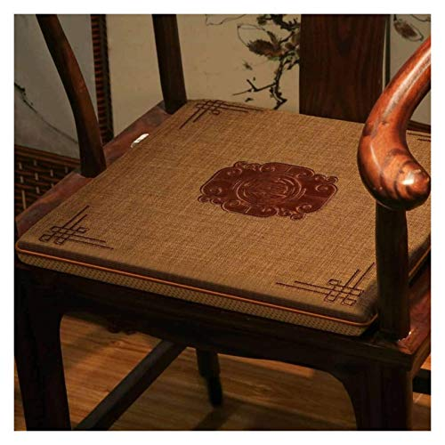 ZHZH Outdoor/Indoor Furniture Chair Cushion Chinese Cotton Embroidery Armchair Seat Cushion,Non-Slip Comfortable Decoration Chair Pads, for Living Room Office Restaurant Chair Cushion