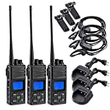 2 Way Radio 5 Watt Long Range, SAMCOM 20 Channels Programmable Walkie Talkie,Rechargeable Hand-held UHF Business Radio for Outdoor Hiking Hunting Travel,3 Packs