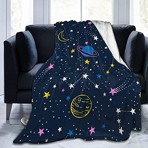 Manta de Felpa Suave Cama Dibujado a Mano Doodle Cielo Nocturno Manta Gruesa y Esponjosa Microfibra, Suave, Caliente, Transpirable para Hogar Sofá , Oficina, Viaje