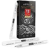 Arteza Juego de bolígrafos gel blanco, paquete de 12 unidades, bolígrafo de gel blanco para diseños artísticos con puntas de 0,6 mm, 0,8 mm y 1,00 mm, bolígrafos blancos para dibujo, notas y bocetos