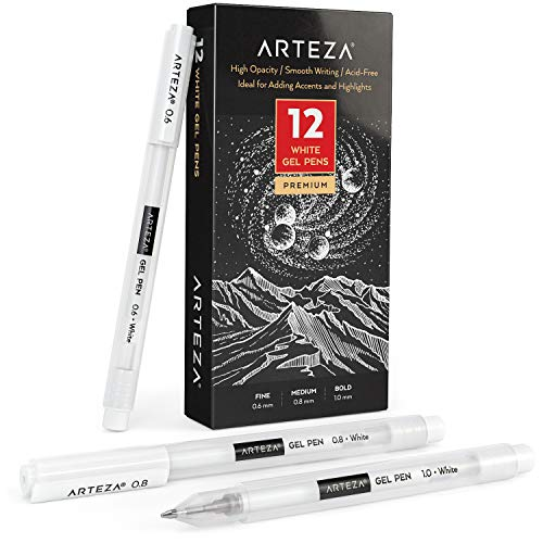 Arteza White Gel Pen Set, Pack of 12, White Gel Pens for Artists with 0.6mm, 0.8mm, and 1.00 mm Nibs, White Rollerball Pens for Writing, Drawing, Taking Notes & Sketching