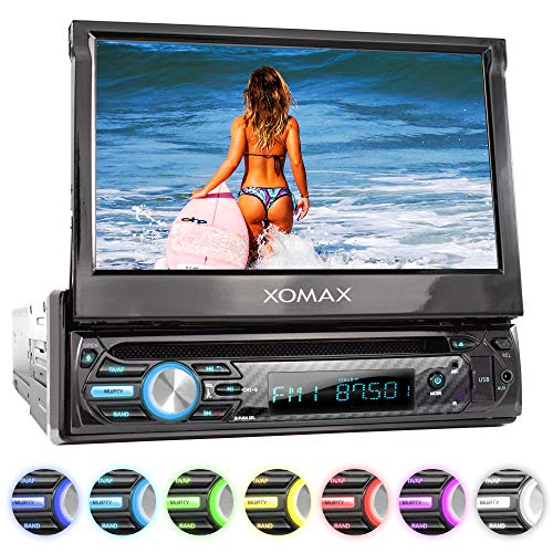 "XOMAX XM-D750 Autoradio mit 18 cm / 7\"" Touchscreen I DVD, CD, USB, AUX I RDS I Bluetooth I Anschlüsse für Rückfahrkamera, Lenkradfernbedienung und Subwoofer I 1 DIN"