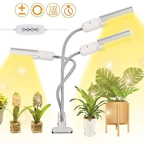 90GJ LED Dreiköpfiger Pflanzenwachstumslampe, 132 LEDs Super Bright Sunlike Full Spectrum wachsen Lampe für Zimmerpflanzen, 360 ° Gooseneck Anlage wachsen Lampe mit Austauschbare E27 Glühlampe.