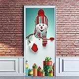 MZNVTD Pegatinas De Puerta 3D Mural Muñeco De Nieve Creativo Puerta Etiqueta De La Pared Sala De Estar Baño Cocina Niño Dormitorio Autoadhesiva Removable Impermeable Decoraciones