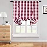 Cortinas de disco a cuadros ciegas romanas cortina de cocina semitransparente con patrón de cuadros, cortina de bistró estilo campestre, cortinas de ventana pequeñas, sala de estar, rojo, 107 * 160 cm