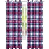 Cortina aislada de sombreado, patrón de tartán vibrante con contraste geométrico, diseño de pícnic, 52 x 95 cm de ancho para sala de estar o dormitorio, azul oscuro y rosa fuerte