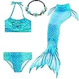 2XDEALS Meerjungfrau Schwanz mit Meerjungfrau Badeanzug Schwanzflosse Zum Schwimmen Kostüm Für...
