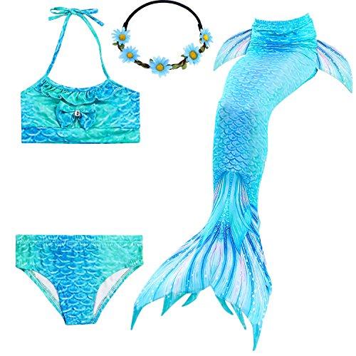 2XDEALS Meerjungfrau Schwanz mit Meerjungfrau Badeanzug Schwanzflosse Zum Schwimmen Kostüm Für Kinder Mädchen, 5-6 Jahre, Wasser