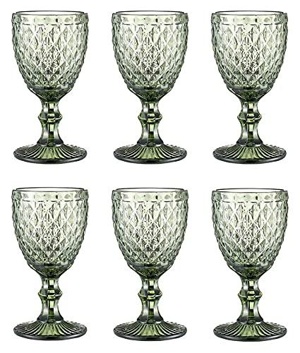 Copas de Vino 10 oz Vasos de Vidrio Tinto Copas de Vino Postre Helado Cuenco Set 3 / 6pieces, Fiesta de Bodas Copos de Cristal de Colores Vendimia Diseño en Relieve Glassware, Verde, L6PCS