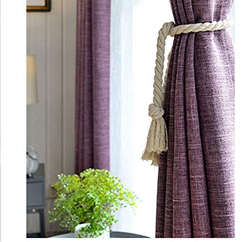 Cortina de franela de color sólido con acabado de dormitorio, aislamiento y reducción de ruido, tela de dos piezas, color morado, 100 x 100 cm