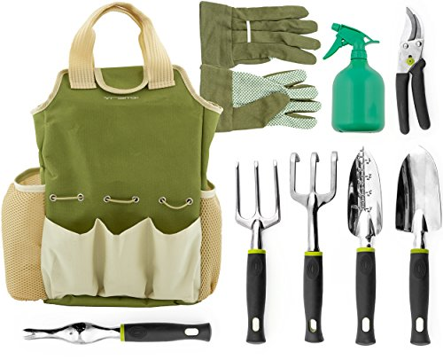 Vremi 9 Piece Garden Tools Set - Gardening Tools with Garden Gloves and Garden Tote - Gardening...