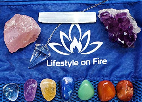 Natural Chakra Crystals and Healing Stones Kit - Amethyst Crystal, Rose Quartz, Lapis Lazuli, Clear Quartz Obelisk – Chakra Crystals for Reiki, Meditation –30 pg Ebook, Velvet Pouch,Keychain Included!