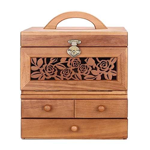 YUTRD ZCJUX Joyero - Joyería de Madera sólida Caja de joyería Caja de Almacenamiento portátil Caja de la Caja de Maquillaje cosmético (Color : B)