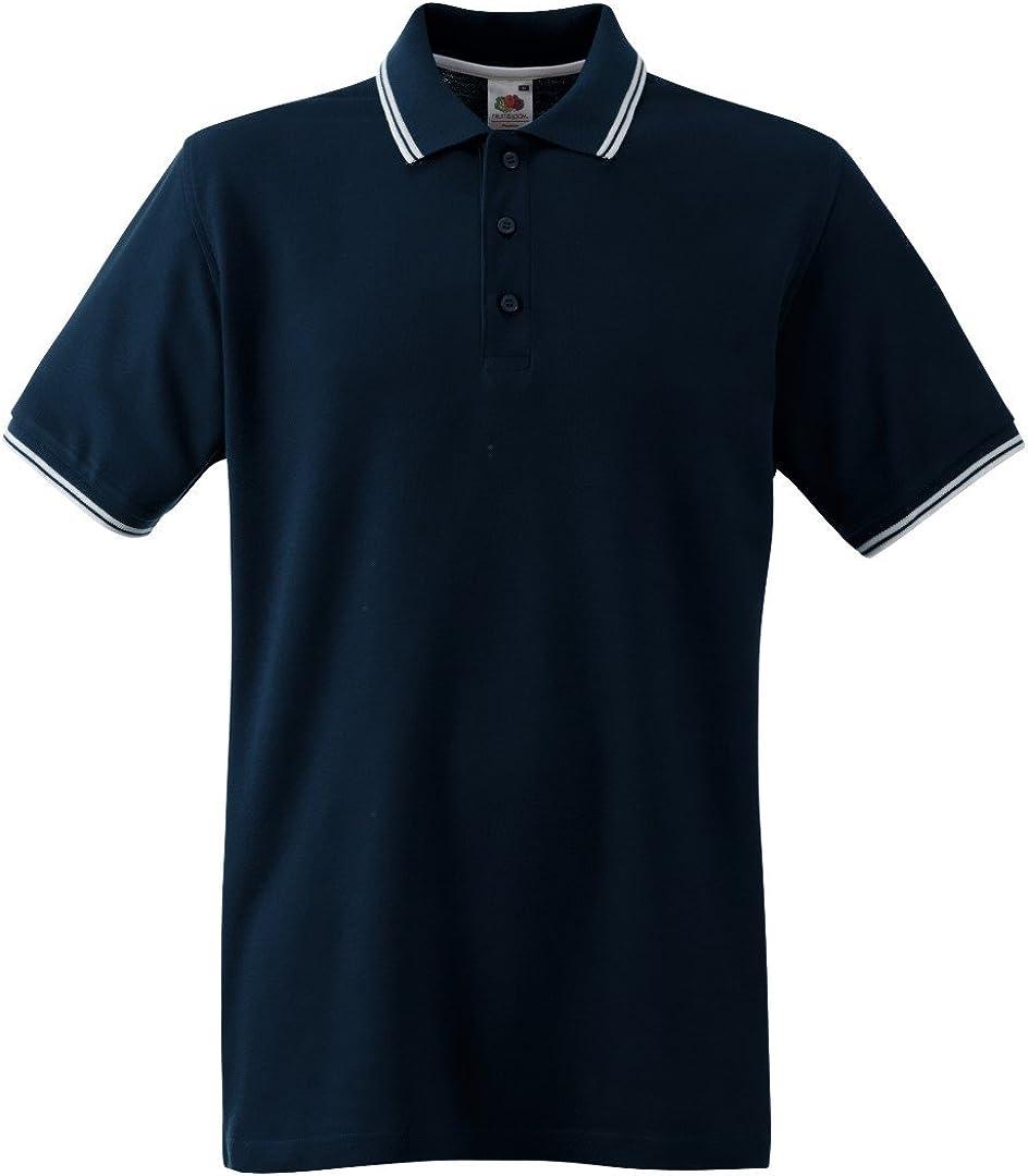 Striped Mens Polo Shirt Short Sleeve Plain Twin Tipping Collar Pique T Shirt Top