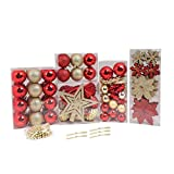 Design Accents Shatterproof Christmas Ball Ornament Collection Set (129-Set, Red, Gold)