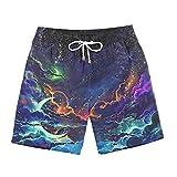 BRILIGHTEN Sternenlicht 3D Gedruckt Herren Badehose Sommer Schnelltrocknend Strand Surf Board Shorts mit Verstellbarem Tunnelzug,M