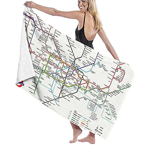 Toallas de baño, Mapa de la Ciudad de Metro de London Transit, Super Soft, Alto Absorbente, Manta de Toalla Grande para baño, Playa o Piscina, 52 'x 32'