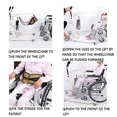 51Cy+mWG7rL - Gruas para Enfermos, Gruas para Mayores con Vientiane Soundless Wheel, GrúA HidráUlica Patas Ajustables para Pacientes Encamados, Cargar Los Portes 120 Kg