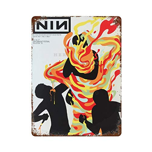 Nine Inch Nail Concert Poster Art Vintage Tin Sign Art Iron Painting Rusty Poster Decoration Aluminum plaque interesting personality For Hotel Cafe School Office Garage Leisure place 30 * 40cm