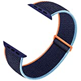 Ruiboo Sport Loop Compatible with Apple Watch Band 38mm 40mm 42mm 44mm iWatch Series 6 5 SE 4 3 2 1 Strap, Women Men Sport Weave Replacement Wristband Adjustable Breathable, 38mm 40mm Deep Navy