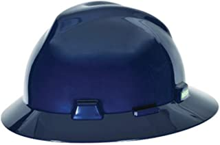 MSA (Mine Safety Appliances) 475359 MSA Blue V-Gard Polyethylene Standard Slotted Cap Style Hard Hat with Fas Trac 4 Point Ratchet Suspension, Plastic, 1