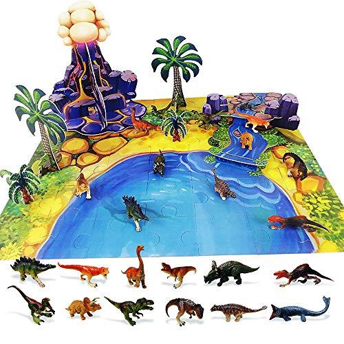 Nice2you Giocattoli di Dinosauro, Puzzle con Dinosauri, Set da Gioco, Figura di Azione educativa realistica del Dinosauro prescolare Crea Un Mondo di Dinosauro 3D, Regali per Bambini (67 PC)