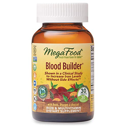 MegaFood Blood Builder - Iron Supplement for Energy Support with Vitamin B12 and Folic Acid - No Nausea or Constipation - 30 Tablets