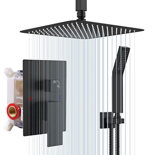 Rainsworth 10-Zoll Luxus Duschsystem Unterputz Regendusche System, Matt Schwarz Duschset mit Duschkopf aus rostfreiem Edelstahl 25x25cm eckig …