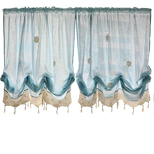 FADFAY Pastoral 57-Inch-by-69-Inch Adjustable Balloon Manual Hook Flower Shade Curtains,Light Blue