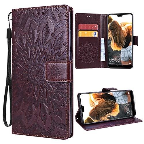 VemMore für Huawei P20 Pro Hülle Handyhülle Schutzhülle Leder PU Wallet Flip Case Bumper Lederhülle Ledertasche Blumen Muster Klapphülle Klappbar Magnetisch Dünn Silikon Sonnenblume - Braun