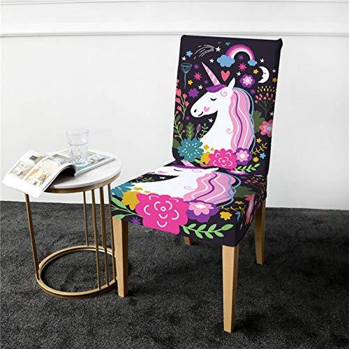 FHYDYZ Stuhlabdeckung Bettwäsche Outlet Einhorn Stuhlabdeckung Dining Spandex Cartoon Stretch Elastic Schonbezug Floral Abnehmbarer Sitzbezug 1Pc