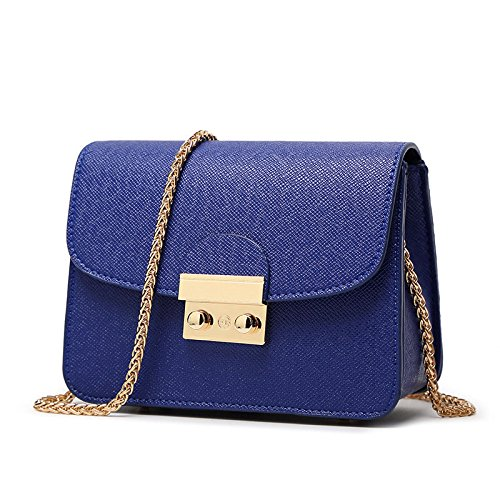 WiTa-Store - Borsa clutch da donna in finta pelle, con tracolla e 3 scomparti laterali, Blau (Blu) - 4060131041255