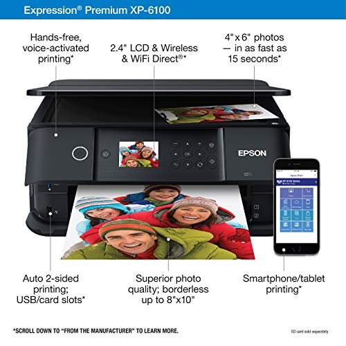 Epson Expression Premium XP-6100 Wireless Color Photo Printer with Scanner and Copier, Black, Medium Photo #2
